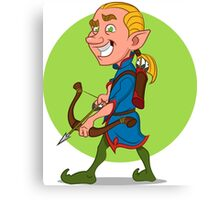 Elf with bow and arrow. Canvas Print