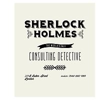 Sherlock Holmes' Business Card Photographic Print