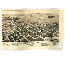 Panoramic Maps Bird's eye view of Great Bend Kans cs of Barton County 1882 Poster