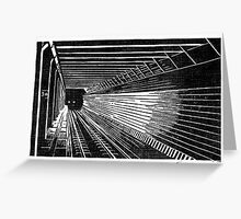 Subway Train Approaching Greeting Card