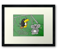 binary options news cartoon of penguin and koala Framed Print