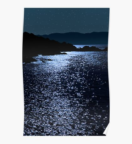 tranquil rocky kerry starry night view Poster