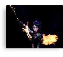 Woman on fire Canvas Print