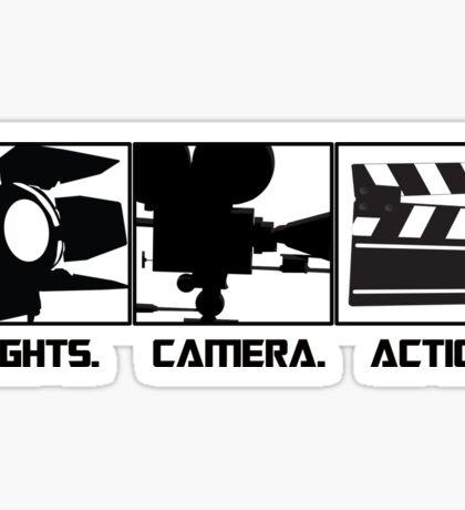 Lights.Camera.Action. Movie Maker T-Shirt Sticker