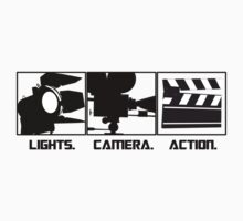 Lights.Camera.Action. Movie Maker T-Shirt Kids Tee