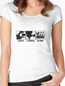 Lights.Camera.Action. Movie Maker T-Shirt Women's Fitted Scoop T-Shirt
