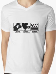 Lights.Camera.Action. Movie Maker T-Shirt Mens V-Neck T-Shirt