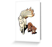 ninetails and vulpix Greeting Card