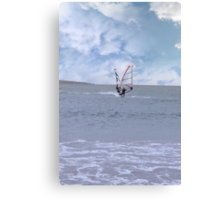 two surfers windsurfing in a storm Canvas Print