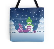 Knitting Snowman Tote Bag