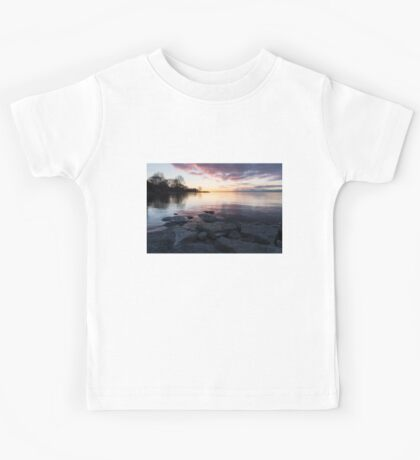 Pink and Gray Placidity - Morning Zen on the Lake Kids Tee