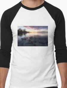Pink and Gray Placidity - Morning Zen on the Lake Men's Baseball ¾ T-Shirt