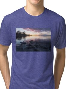 Pink and Gray Placidity - Morning Zen on the Lake Tri-blend T-Shirt