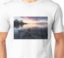 Pink and Gray Placidity - Morning Zen on the Lake Unisex T-Shirt
