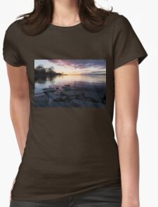 Pink and Gray Placidity - Morning Zen on the Lake Womens Fitted T-Shirt