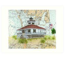 Boca Grande Lighthouse FL Key Map Cathy Peek Art Print
