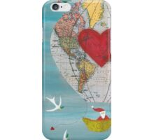 Christmas Santa Claus in a Hot Air Balloon for Peace iPhone Case/Skin
