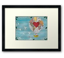 Christmas Santa Claus in a Hot Air Balloon for Peace Framed Print