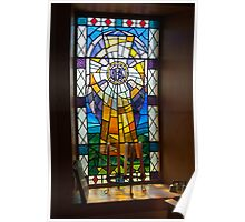 Building, Church, Stained Glass Window Poster