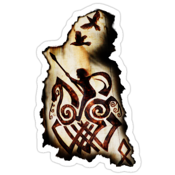 Odin, Sleipnir, Hugin and Munin t-shirt by TheCroc1979