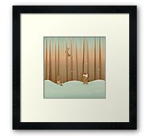 Squirrels love the snow Framed Print
