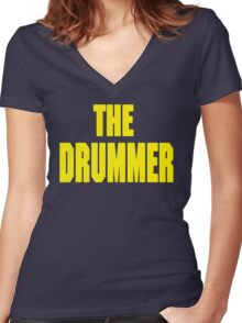 THE DRUMMER (DAVE GROHL / TAYLOR HAWKINS) YELLOW Women's Fitted V-Neck T-Shirt