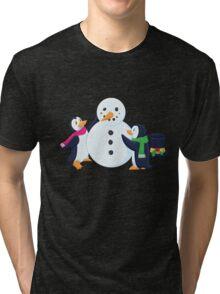 Snowman penguins Tri-blend T-Shirt