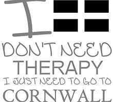 I Don't Need Therapy, I Just Need To Go To Cornwall T Shirt by zandosfactry