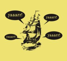 pirate ship - black - funny graphic design - yaarr! by moonshine and lollipops