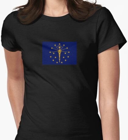 Indiana State Flag Indianapolis USA Bedspread T-Shirt Sticker Womens Fitted T-Shirt