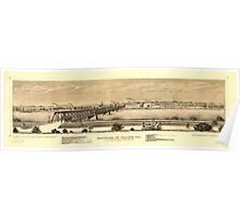 Panoramic Maps Panorama of Moline Ill as seen from the island of Rock Island Ill Poster