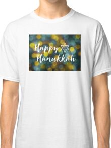 Happy Hanukkah Bokeh Lights Classic T-Shirt