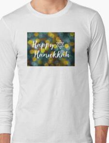 Happy Hanukkah Bokeh Lights Long Sleeve T-Shirt