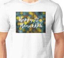 Happy Hanukkah Bokeh Lights Unisex T-Shirt
