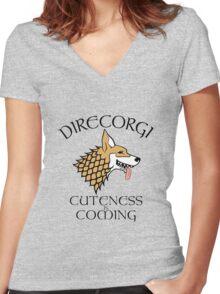 DireCorgi Women's Fitted V-Neck T-Shirt