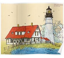 Portland Head Lighthouse ME Chart Map Cathy Peek Poster