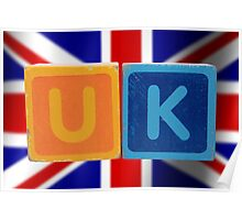 uk and flag in toy letters Poster