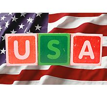 usa and flag in toy block letters Photographic Print
