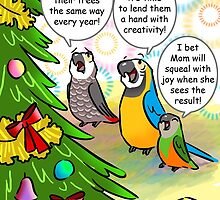 Parrots and Christmas tree by lifewithbirds