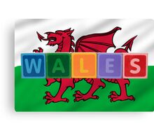 wales and flag in toy block letters Canvas Print