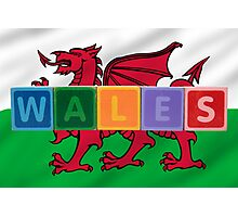 wales and flag in toy block letters Photographic Print