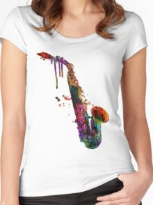 saxophone  Women's Fitted Scoop T-Shirt