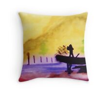 Misty morning on the fishing boat, watercolor Throw Pillow