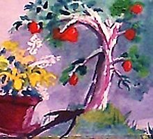 The O; apple tree, watercolor by Anna  Lewis