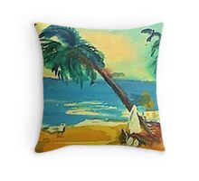 Last dip of the day, watercolor Throw Pillow