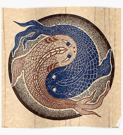 yin yang fish, shuiwudao mandala Poster