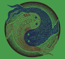 yin yang fish, shuiwudao mandala Kids Tee