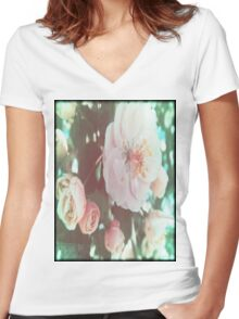 Crabapple Blossoms with Flare™ Women's Fitted V-Neck T-Shirt