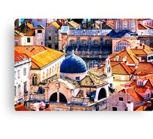 The Essence of Croatia - Red Terracotta Rooftops of Dubrovnik Canvas Print