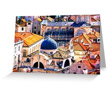 The Essence of Croatia - Red Terracotta Rooftops of Dubrovnik Greeting Card